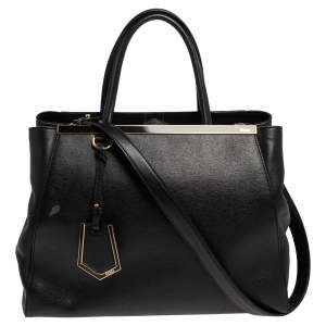 حقيبة يد توتس فندي 2جور جلد سافيانو أسود متوسطة