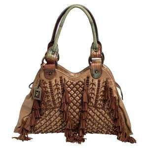 Fendi Brown Suede and Leather Tassel And Bead Embellished Shoulder Bag