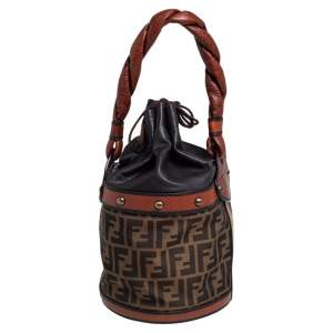 Fendi Brown/Tan Zucca Canvas And Leather Palazzo Drawstring Bucket Bag