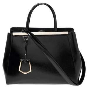 حقيبة يد توتس فندي 2 جور جلد أسود لامع متوسطة