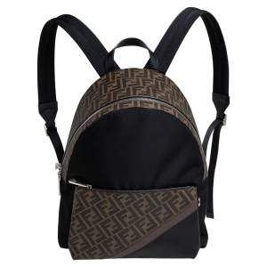 Fendi Brown/Black Zucca Coated Canvas, Nylon and Leather Backpack