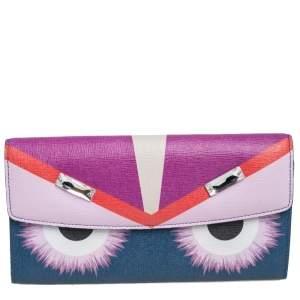 Fendi Multicolor Crystal Embellishment Leather Monster Continental Wallet