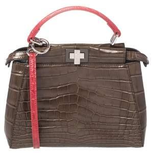 Fendi Brown/Red Crocodile Mini Peekaboo Top Handle Bag