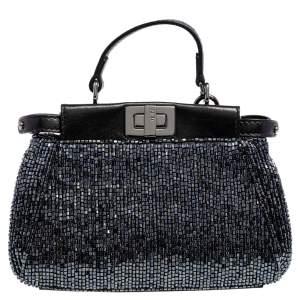 Fendi Black Beaded and Leather Micro Peekaboo Crossbody Bag