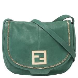 حقيبة كروس فندي جلد شيميرينغ خضراء بقلاب