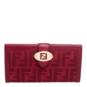 Fendi Red Zucca Canvas and Leather Flap Continental Wallet