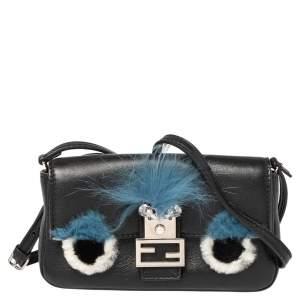 Fendi Black Leather and Fur Micro Monster Shoulder Bag