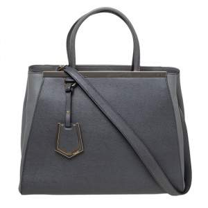 حقيبة يد توتس فندي 2جور جلد رصاصي متوسطة
