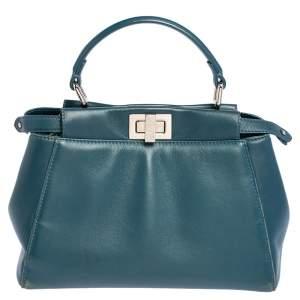 Fendi Blue Leather Mini Peekaboo Top Handle Bag
