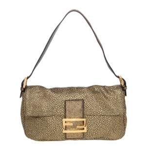 Fendi Metallic Gold Brocade Fabric Baguette Bag