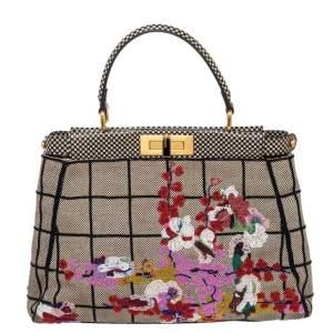 حقيبة فندي بيكابوو كانفاس وجلد متعددة الألوان مطرزة بيد علوية
