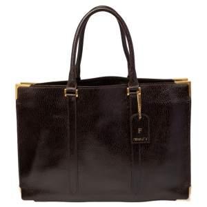 Fendi Dark Brown Textured Leather Classico No. 4 Tote
