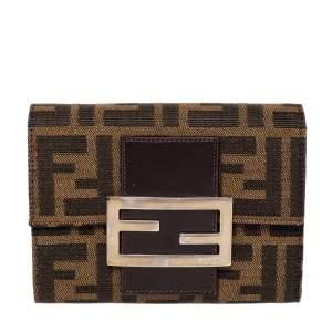 Fendi Tobacco Zucca Canvas FF Flap Compact Wallet