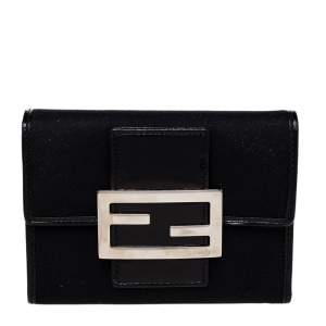 Fendi Black Leather And Canvas FF Flap Compact Wallet