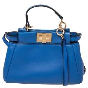 حقيبة كروس فندي مايكرو بيكابو جلد أزرق