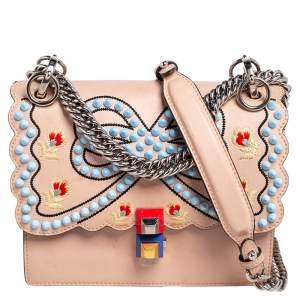 Fendi Peach Spike Embroidered Leather Small Kan I Shoulder Bag