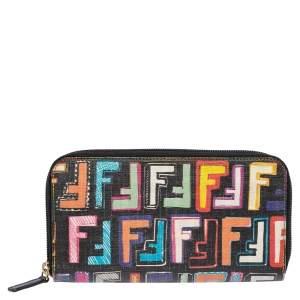 Fendi Multicolor Zucca Coated Canvas Zip Around Wallet
