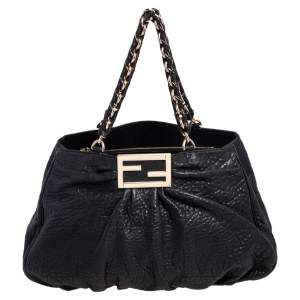 Fendi Black Pebbled Leather Large Mia Shoulder Bag