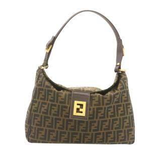Fendi Brown Leather-Trimmed Zucca Canvas Baguette Bag