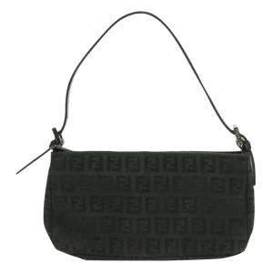 Fendi Black Zucchino Canvas Mini Pochette Bag