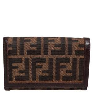 Fendi Tobacco Zucca Canvas and Leather Trim Flap Wallet
