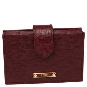 Fendi Dark Red Leather Elite Accordion Card Case
