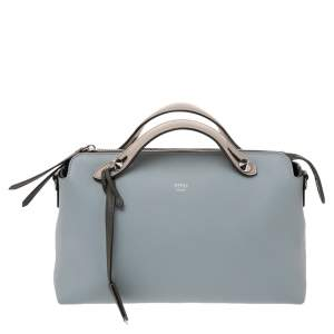 Fendi Light Blue Leather Small By The Way Boston Bag