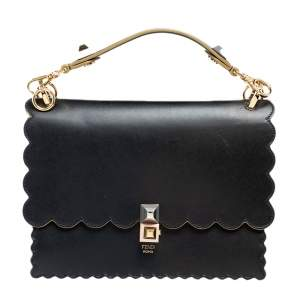 Fendi Black Leather Kan I Scalloped Top Handle Bag