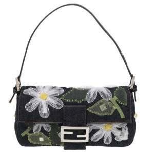 Fendi Blue Denim Floral Embroidered Mama Baguette Shoulder Bag