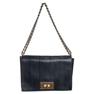 Fendi Black Pequin Embossed Leather Large Claudia Shoulder Bag