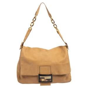 Fendi Beige Iridescent Leather Mama Forever Large Flap Shoulder Bag