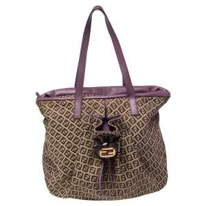 Fendi Brown/Purple Zucchino Canvas And Leather Front Drawstring Pocket Tote
