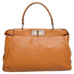 Fendi Tan Leather Small Peekaboo Top Handle Bag