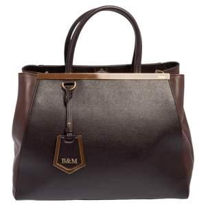 Fendi Two-Tone Brown Leather Medium 2Jours Tote