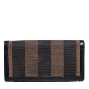 Fendi Brown/Black Pequin Stripe Canvas and Leather Flap Continental Wallet