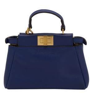 Fendi Blue Nappa Leather Micro Peekaboo Iconic Satchel Bag