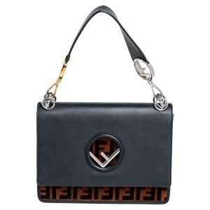 Fendi Black/Brown Zucca Velvet and Leather Kan I F Logo Shoulder Bag