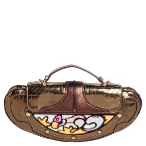 Fendi Gold/Copper Patent and Leather Mini Vanity Mirrored Clutch Bag