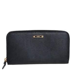 Fendi Black Leather Elite Zip Around Wallet
