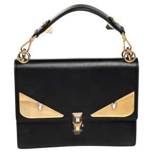 Fendi Black Leather Bugs Kan I Top Handle Bag