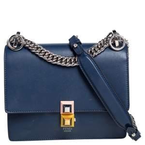Fendi Blue Leather Small Kan I Shoulder Bag