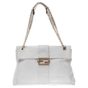 Fendi White Leather Maxi Baguette Flap Shoulder Bag