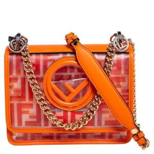 Fendi Orange Zucca PVC and Leather Kan I F Logo Crossbody Bag