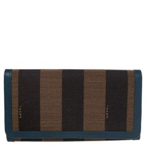 Fendi Brown/Blue Pequin Stripe Canvas And Leather Flap Continental Wallet