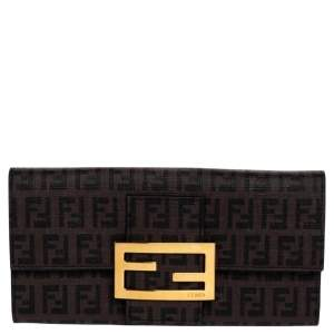 Fendi Tobacco Zucchino Coated Canvas Forever Continental Wallet