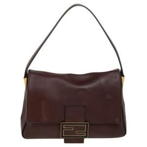 Fendi Brown Leather Mama Baguette Shoulder Bag