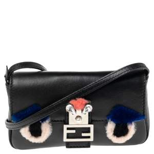 Fendi Black Leather and Fur Trim Micro Buggie Baguette Shoulder Bag