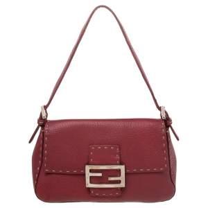 Fendi Red Leather Baguette Shoulder Bag