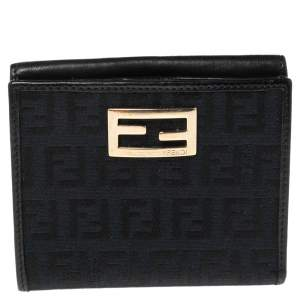 Fendi Black Zucchino Canvas and Leather Compact Wallet