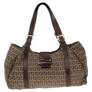 Fendi Brown Zucchino Canvas and Leather Borsa Piccola Shoulder Bag